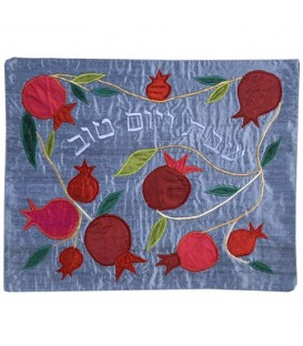 Raw Silk Applique`d Challah Cover- Pomegranate- Blue