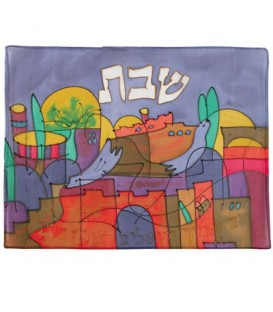 Silk - Painted Challah Cover- Jerusalem - Dove