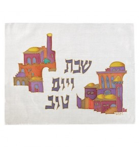 Silk - Painted Challah Cover- Houses - Multicolor