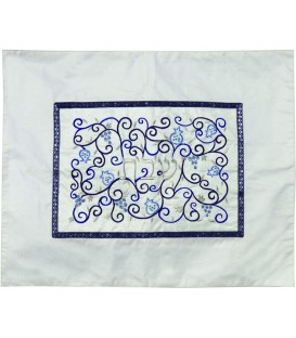 Challah Cover- Center Embroidery - White + Blue