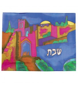 Silk - Painted Challah Cover- Jaffa Gate