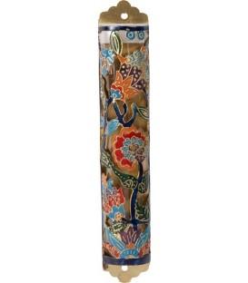 Mezuzah Etching - Flowers - Multicolor