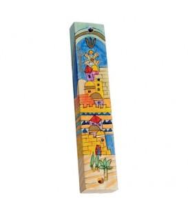 Large Wooden Mezuzah - Jerusalem Gate