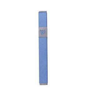 """Mezuza """"Shin"""" Stainless Steel 12 cm -  Blue"""