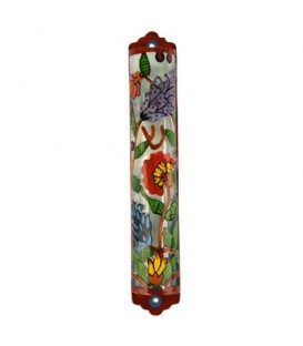 Mezuzah - Hand Painted Laser Cut - Flowers