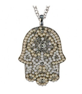 Necklace - Large  Hamsa - White + Silver