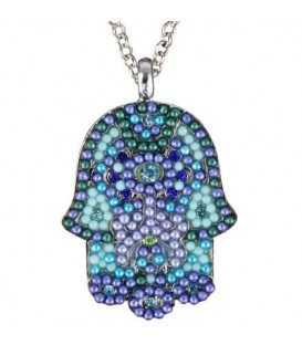 Necklace - Large  Hamsa - Blue