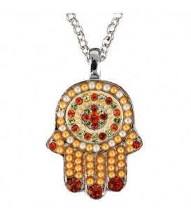 Necklace - Small Hamsa - Brown + Maroon