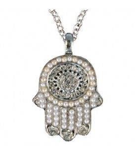 Necklace - Small Hamsa - Silver + White
