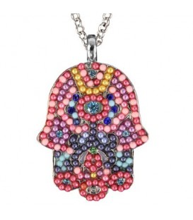 Necklace - Large  Hamsa - Multicolor