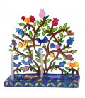 Hanukkah Menorah - Painted Laser Cut - Pomegranates + Birds