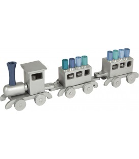 Hanukkah Menorah - Train - Aluminium - Blue Branches