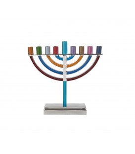 Small Classic Hanukkah Menorah - Multicolor