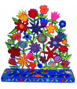 Hanukkah Menorah - Painted Laser Cut - Flowers