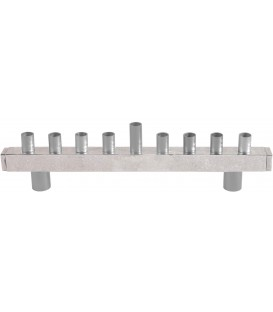 Hanukkah Menorah - Strip + Hammer Work - Aluminium
