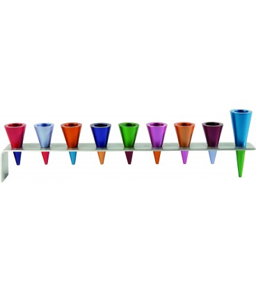 Hanukkah Menorah - Metal Strip + Cone - Multicolor