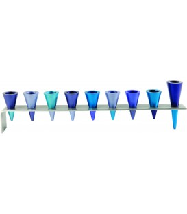 Hanukkah Menorah - Metal Strip + Cone - Blue