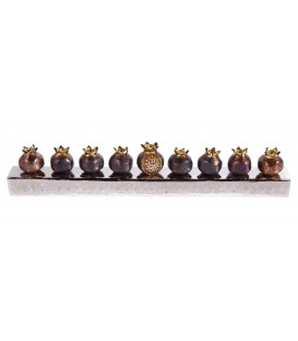 Hanukkah Menorah - Pomegranates - Copper