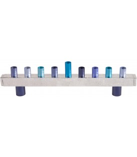 Hanukkah Menorah - Strip + Hammer Work - Blue
