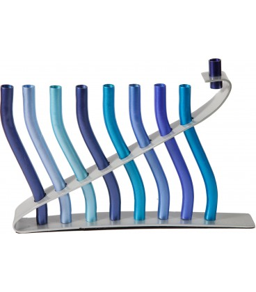 "Hanukkah Menorah - ""Sticks"" - Blue"