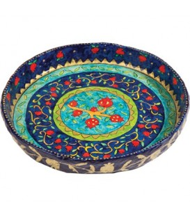 Paper Mache - Large Flat Bowl - Pomegranates - Blue Background