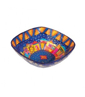 Paper Mache  - Square Small Bowl - Jerusalem