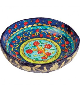 Paper Mache - Medium Bowl - Pomegranate - Blue Background