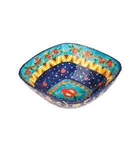 Paper Mache - Square Small Bowl - Blue Background