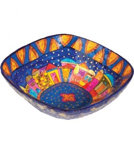 Paper Mache - Square Large Bowl - Jerusalem