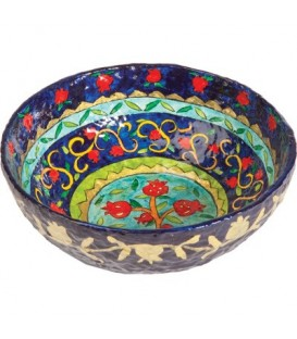 Paper Mache - Large Bowl - Pomegranate - Blue Background