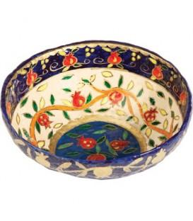 Paper Mache - Large Bowl - Pomegranate - White Background