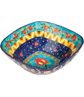 Paper Mache  - Square Large Bowl - Blue Background