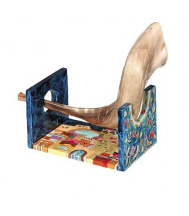 Wooden Shofar Stand - Small - Jerusalem