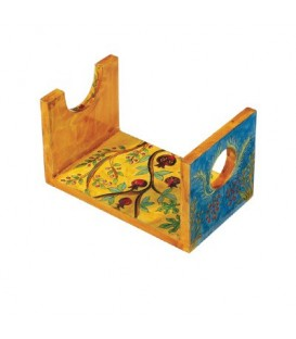 Wooden Shofar Stand - Small - Pomegranates