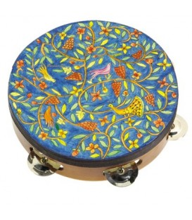 Tambourine - Hand Painted on Genuine Leather - Oriental