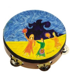 Tambourine - Hand Painted on Genuine Leather - Miriam