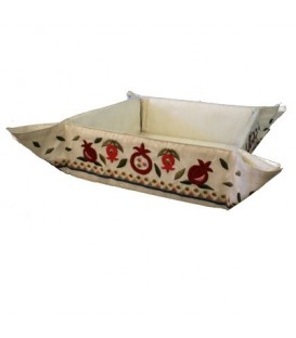 Folding Basket + Embroidery - Pomegranates