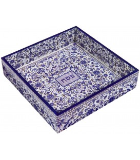 Printed Wooden Matzah Tray - Blue