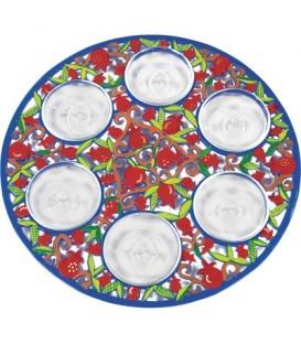 Seder Plate - Aluminium Painted + Six Bowls - Pomegranates