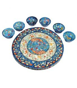Seder Plate + Six Bowls - Peacocks
