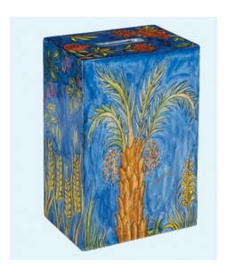 Rectangular Tzedakah Box - Seven Species