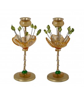 Candlesticks - Polyester - Flower Yellow/ Green 25 CM