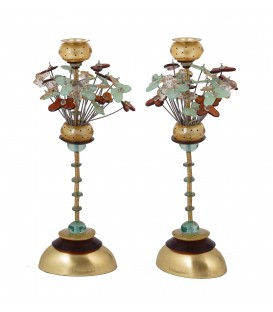 Candlesticks - Polyester - Butterflies - Brown/ Green 36 CM