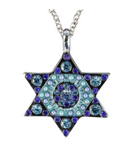 Necklace - Magen David - Blue