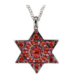 Necklace - Magen David - Maroon