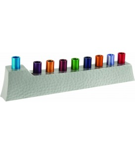 Hanukkah Menorah - Hammer Work + Branches - Multicolor