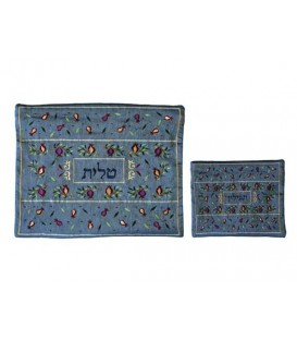 Tallit Bag - Machine Embroidery - Pomegranates -Blue