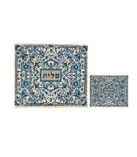 Tfilin Bag - Full Embroidery - Blue