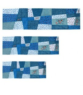 "Runner - Applique`d + Embroidery 40"" ( 100 CM ) Blue"