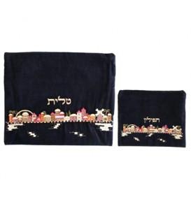 Tfilin Bag - Velvet Embroidered - Jerusalem Multicolor